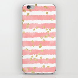 Modern blush pink watercolor stripes gold confetti pattern iPhone Skin