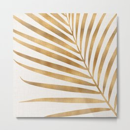 Metallic Gold Palm Leaf Metal Print