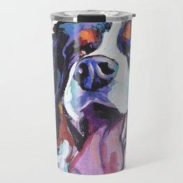 Berner Bernese Mountain Dog Portrait Pop Art painting by Lea Travel Mug