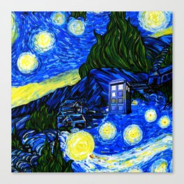 tardis srarry night Canvas Print