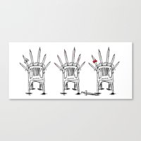 thrones Canvas Prints featuring The Plastic Thrones by Helena McGill