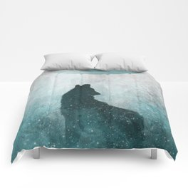 Howling Wolf: Space Silhouette Comforters