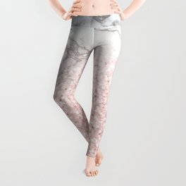 She Sparkles - Pastel Pink Glitter Rose Gold Marble Leggings