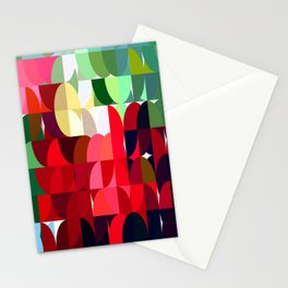 Mixed color Poinsettias 3 Abstract Circles 1 Stationery Cards
