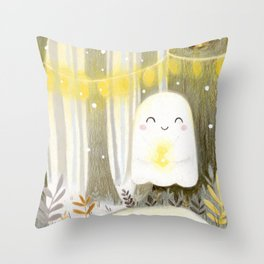 Little ghost and lantern Throw Pillow