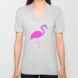 Pink Flamingo Wearing a Mask Incorrectly Unisex V-Neck