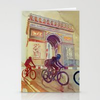 tour de france Stationery Cards featuring Tour de France by takmaj