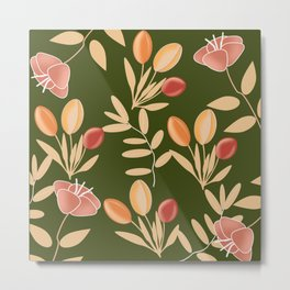 floral with green background Metal Print