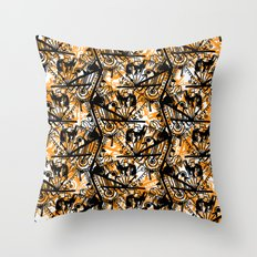 Aztec Pattern Orange Throw Pillow