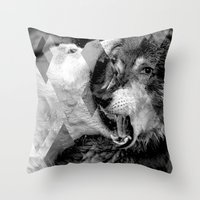 wolves Throw Pillows featuring Wolves by Ricca Design Co.