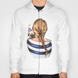 Brunette Braid Hairstyle Girl with Pug Dog Drawing Hoody