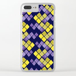 Mozaic pattern in faux gold, yellow, purple and navy indigo Clear iPhone Case