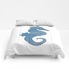Watercolor Seahorse by Lo Lah Studio Comforters