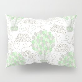 Vintage hot air balloons line drawing pastel green Pillow Sham