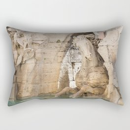 Sculpture of a horse from Fountain of the Four Rivers by Bernini in Piazza Navona in Rome, Italy. Rectangular Pillow