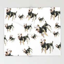 Airedale Terrier on watercolor Throw Blanket