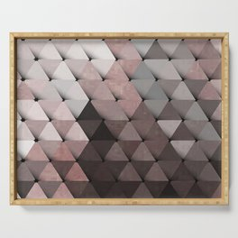 Triangles Putty Mauve Serving Tray