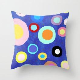 Marine Blue Watercolour Happy Circles Throw Pillow