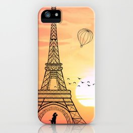 Sunset Eiffel Tower iPhone Case