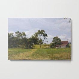 Barn on Hill Metal Print