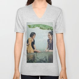 Woman and Girl in a Pond in the Rain Unisex V-Neck