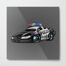 Police Muscle Car Cartoon Illustration Metal Print