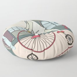 Steampunk Penny-Farthing Velocipedes Floor Pillow