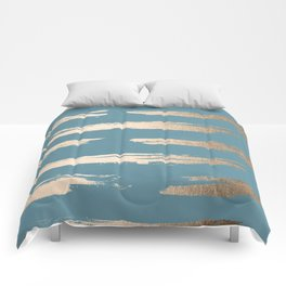 Abstract Painted Stripes Gold Tropical Ocean Blue Comforters