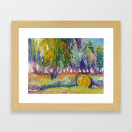 Hay Bale In Cambridge, New Zealand Framed Art Print