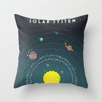 solar system Throw Pillows featuring Solar System by scarriebarrie
