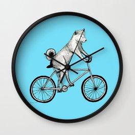 Shiba Inu Riding a Bicycle Wall Clock