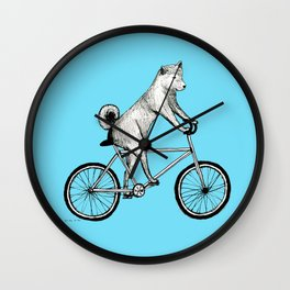 Shiba Inu Riding a Bicycle Wall Clock