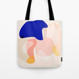Modern Abstract Peach Pink Navy Blue Yellow Pattern Tote Bag