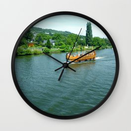 Ship on the River Wall Clock