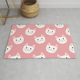 Cute Cat Face Pattern White Pink Rug