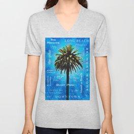 Long Beach, California - Palm Tree -  Pop Art Unisex V-Neck