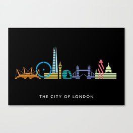 London Skyline Black Canvas Print