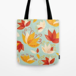Whimsical Abstract Colorful Lily Flower Pattern Tote Bag