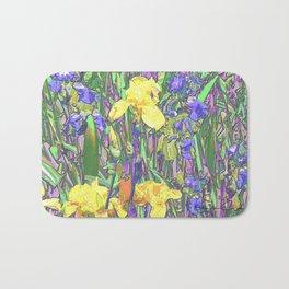 Blue & Yellow Iris Garden - Abstract Bath Mat