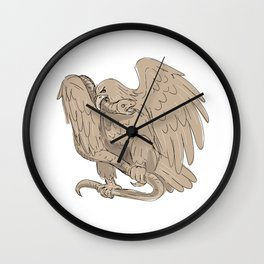 Serpent in Clutches of Eagle Drawing Wall Clock