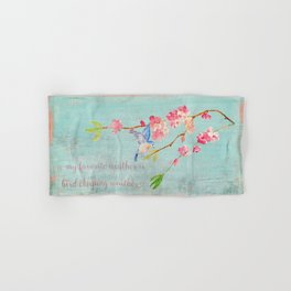 My favorite weather - Romantic Birds Cherryblossoms and Spring Typography on teal Hand & Bath Towel