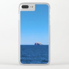 Scotland's Bass Rock, a Blue Sky and the North Sea Clear iPhone Case