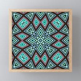 Aztec Geometric Mandala | Aqua Pink Framed Mini Art Print