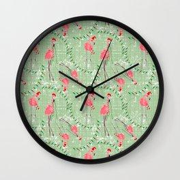 Coastal Christmas Flamingos and Lights Wall Clock