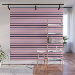 Pink and Navy Blue Horizontal Stripes Wall Mural