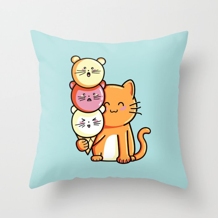 Kawaii Cute Cat and Micecream Throw Pillow