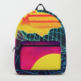 Neon glowing sun grid mountain Backpack