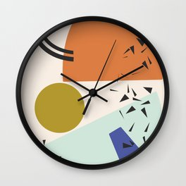 Mint and Orange Abstract Shapes Wall Clock