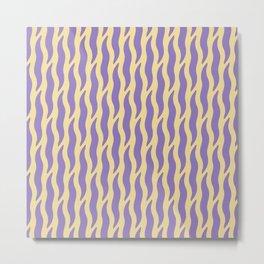 Tiger Wild Animal Print Pattern 236 Purple and Yellow Metal Print