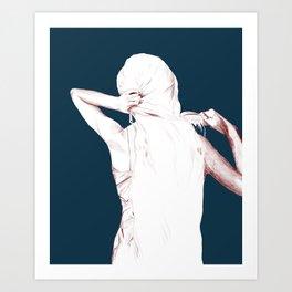 Brushing hair  Art Print